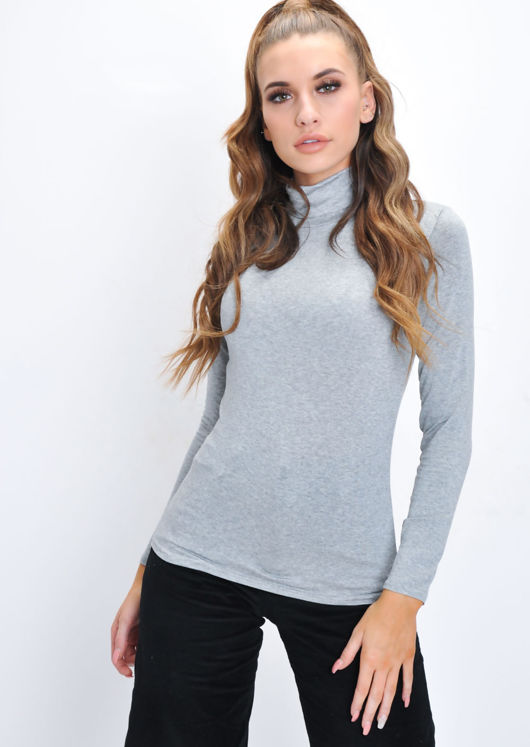 Turtleneck Long Sleeve Stretch Top Grey