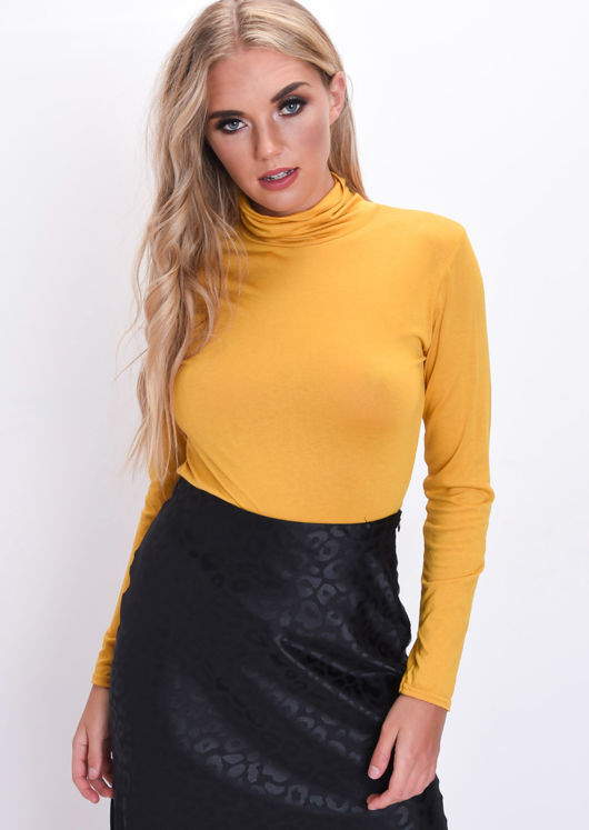 Turtleneck Long Sleeve Stretch Top Mustard Yellow