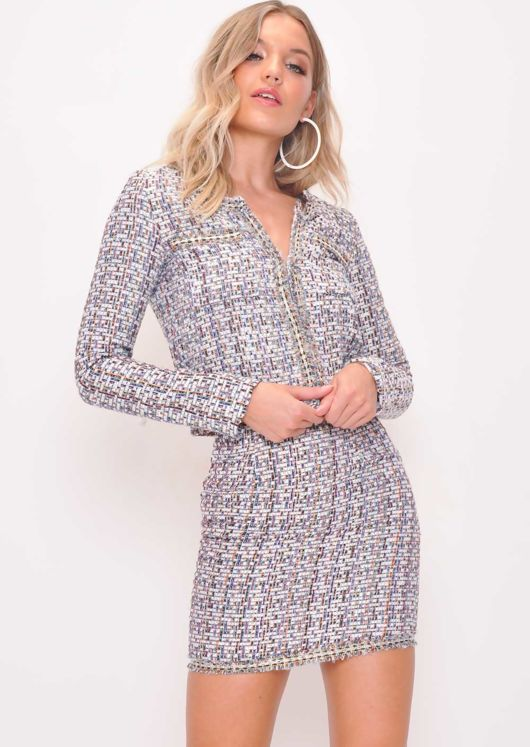 Tweed Blazer and Skirt Co Ord Set White