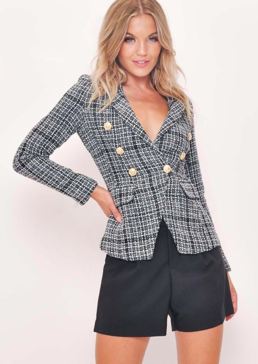 Tweed Fitted Double Breasted Blazer Jacket White Check Black