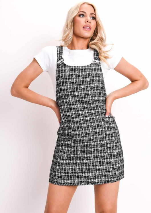 Tweed Pinafore Mini Dress Black
