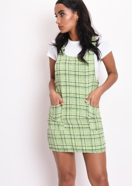 Tweed Pinafore Mini Dress Neon Green