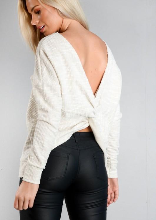 Twist Back Long Sleeve Jumper White