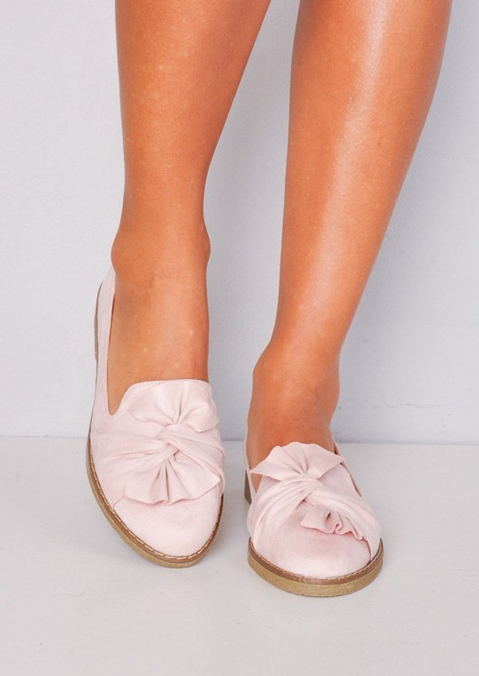 Twist Front Faux Suede Loafer Flats Pink