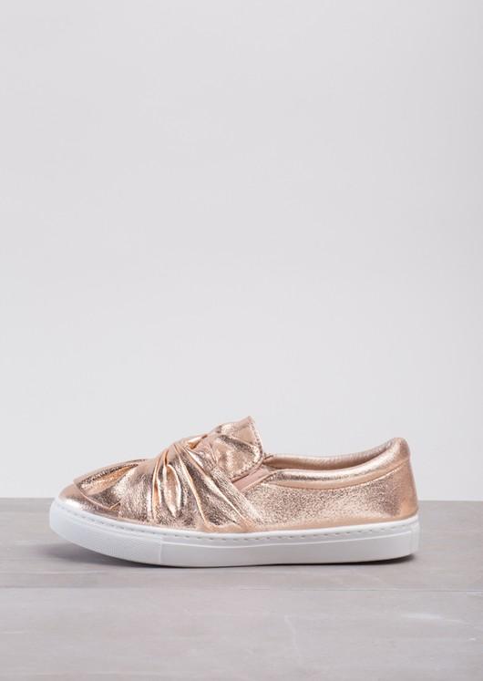 TwistFront Slip On Pumps Sneaker Suede Metallic Rose Pink