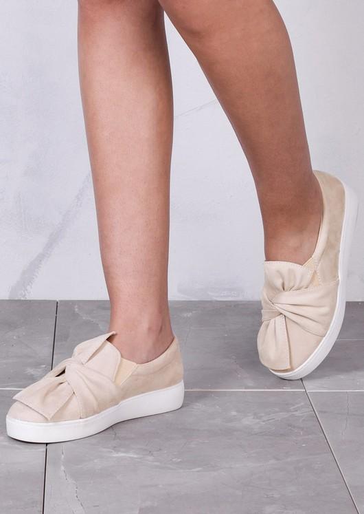 TwistFront Slip On Pumps Sneaker Suede Beige