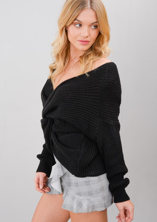 Twist Knot Front Knitted Jumper Black