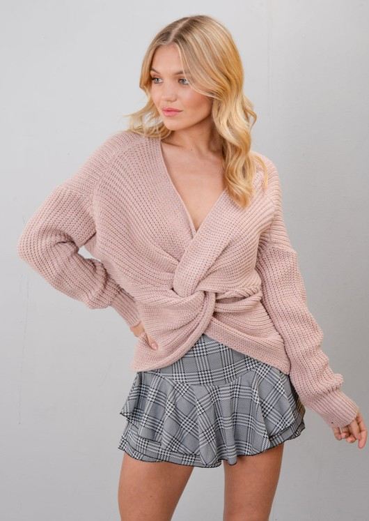Twist Knot Front Knitted Jumper Pink