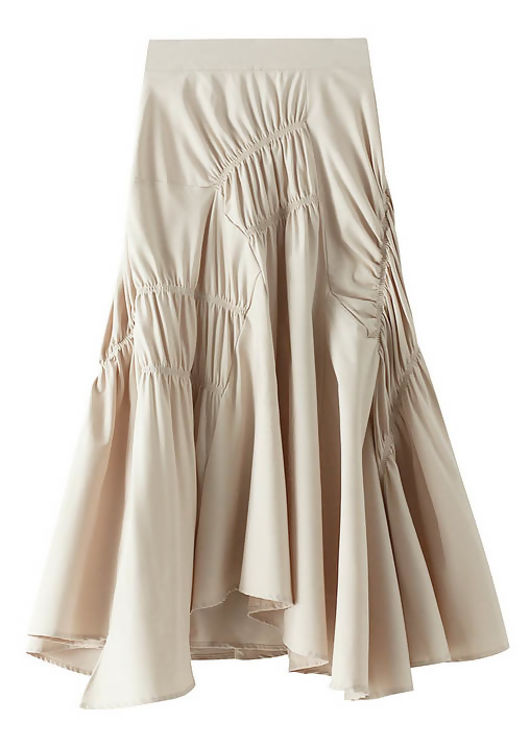 Unbalanced Elasticated Ruched Ruffle Midi Skirt Beige