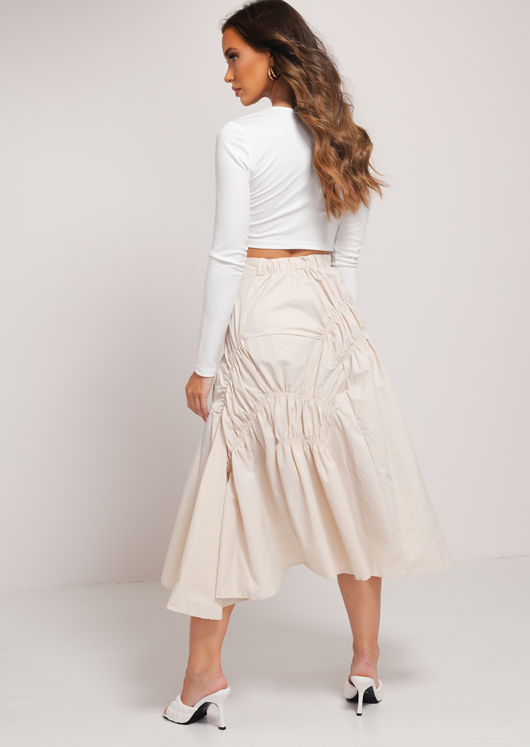 Asymmetric Elasticated Ruched Ruffle Midi Skirt Beige
