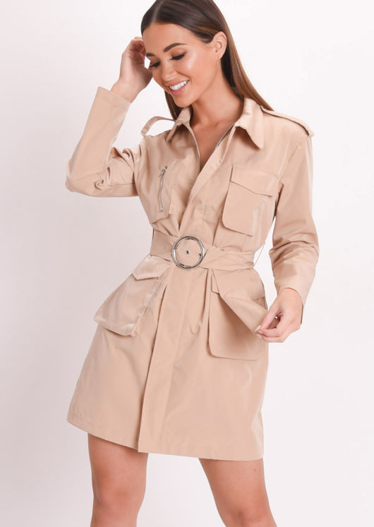 Utility Belted Waisted Mini Shirt Dress Beige