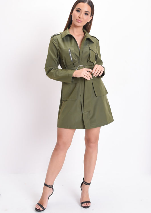 Utility Belted Waisted Mini Shirt Dress Khaki Green
