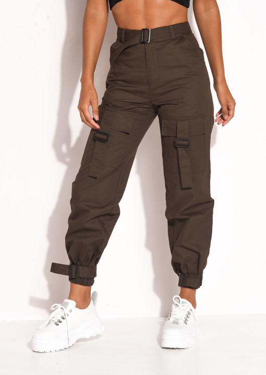 Utility Cargo Pocket Fitted Jogger Trousers Brown