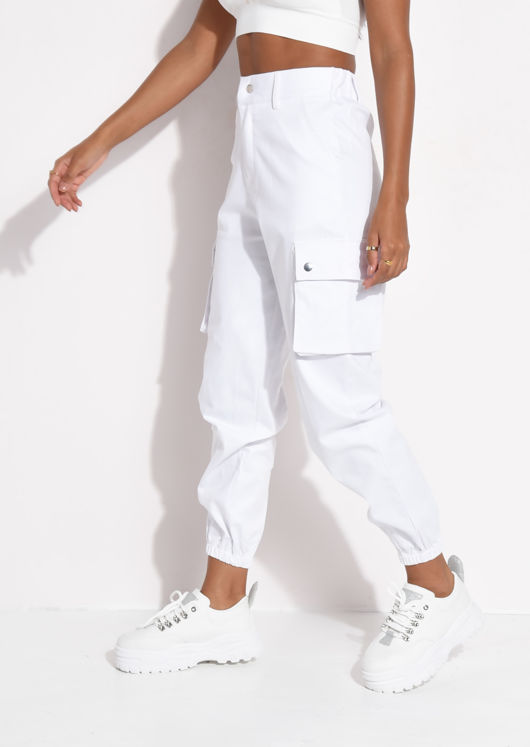 Utility Fitted Cargo Jogger Trousers White