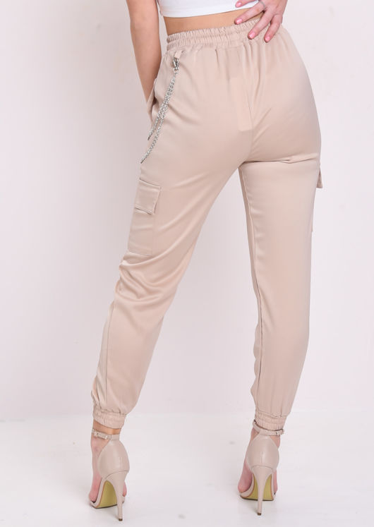Utility Fitted Chain Detail Jogger Trousers Stone Beige