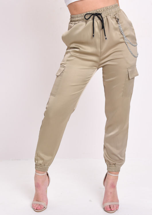 Utility Fitted Chain Detail Jogger Trousers Khaki Green