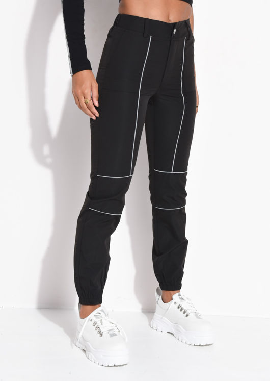 Utility Reflective Binding High Waisted Jogger Trousers Black