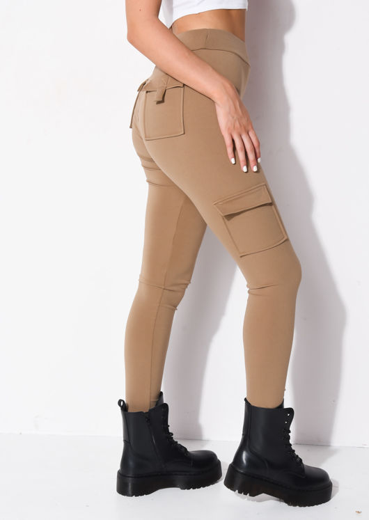 Utility Stretch Pocket Detail Leggings Beige