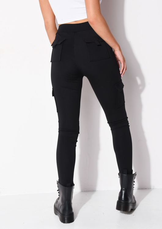 Utility Stretch Pocket Detail Leggings Black