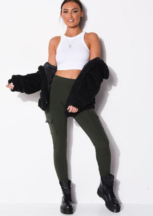 Utility Stretch Pocket Detail Leggings Khaki Green