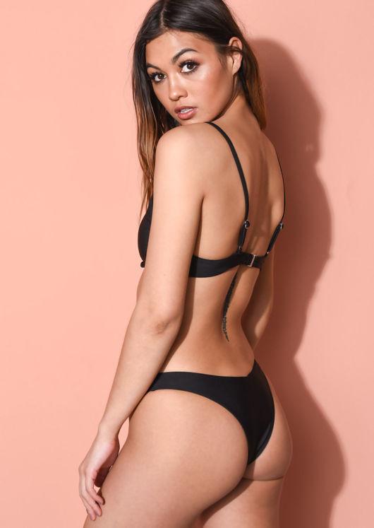 V Detail Underwired Plunge High Leg Bikini Black