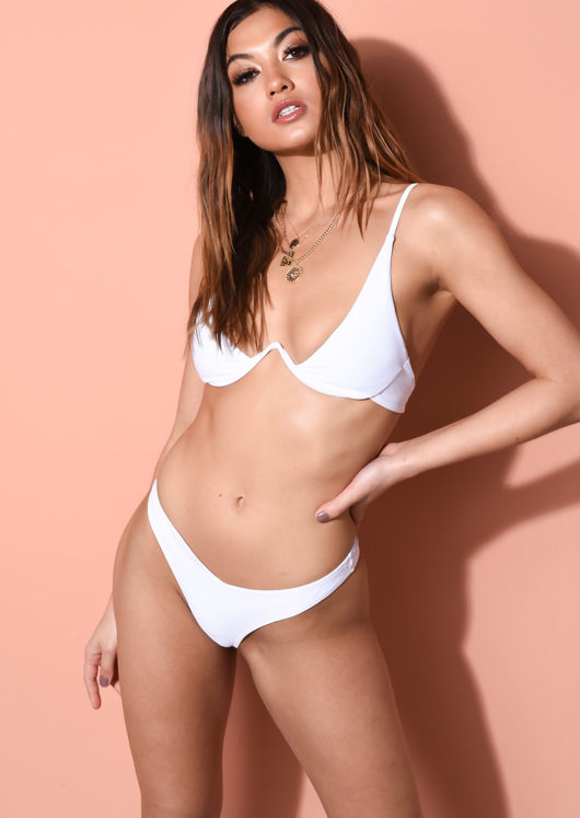 V Detail Underwired Plunge High Leg Bikini Top and Bottom Set White