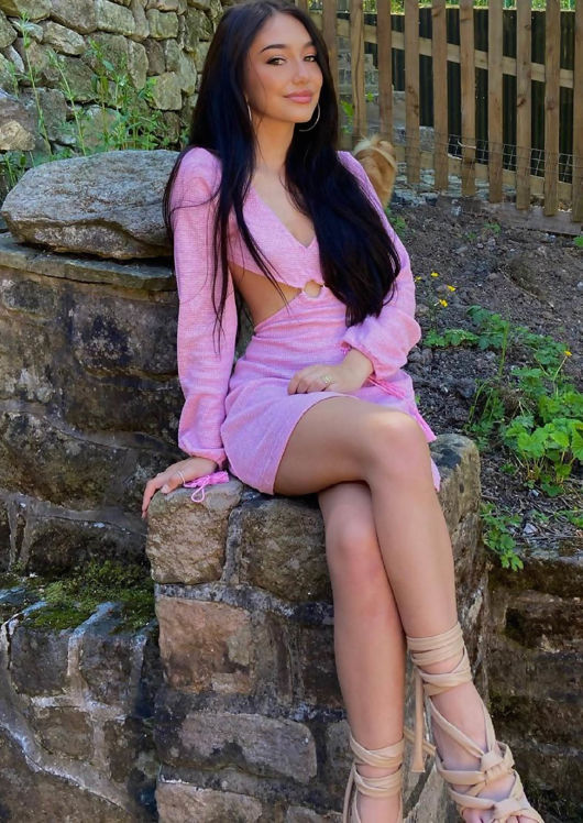 V Neck Long Sleeve Cut Out Crochet Mini Dress Pink