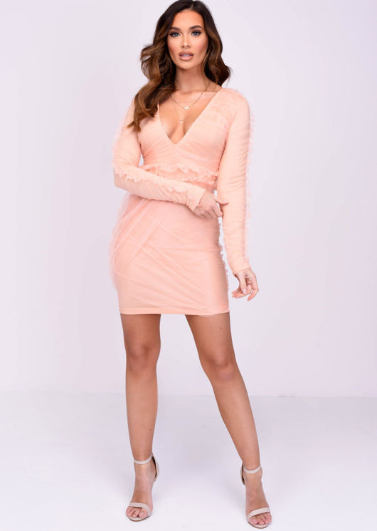 V Neck Mesh Long Sleeved Bodycon Dress Coral Pink