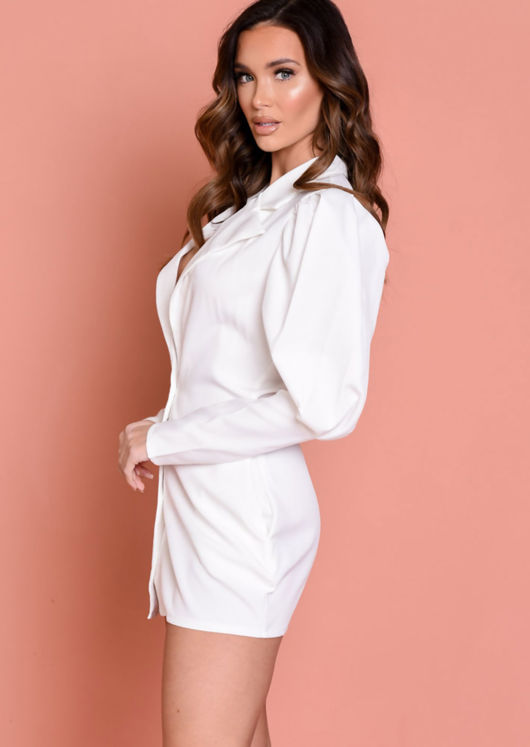 V Neck Puff Sleeve Button Down Blazer Dress White