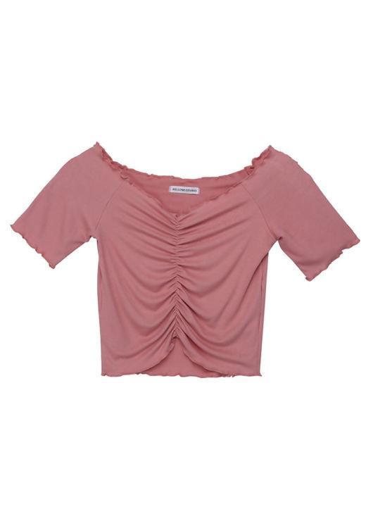 V Neckline Ruched Front Frill Crop Top Pink