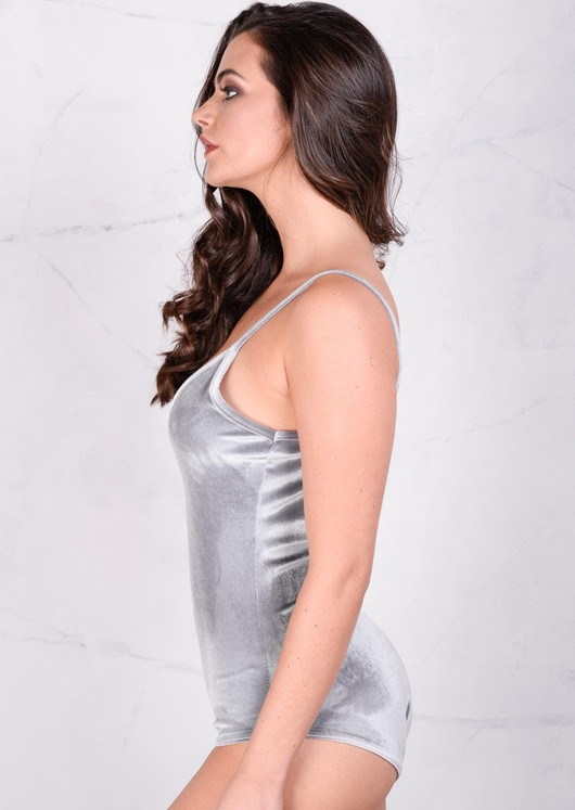Velvet Plush V-Neck Bodysuit Silver Grey