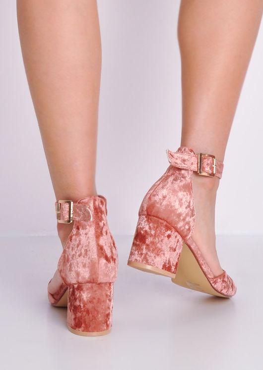 Crush Velvet Block Heel Ankle Strap Court Heels Pink