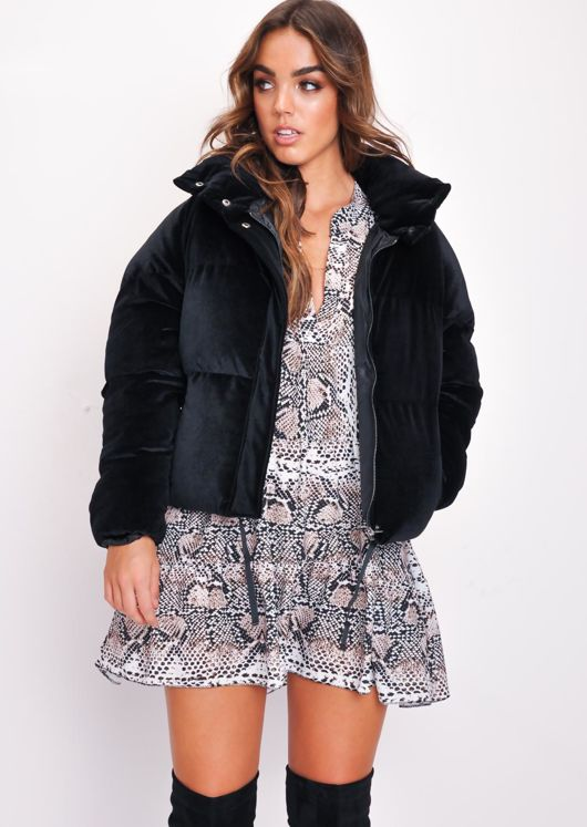 Velvet Cropped Puffer Jacket Coat Black
