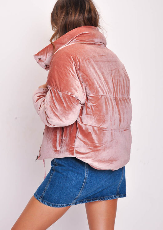 Velvet Cropped Puffer Jacket Coat Pink