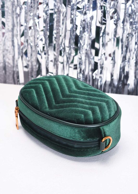Velvet Chevron Quilted Bum Bag Green