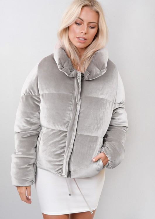 Velvet Cropped Puffer Jacket Coat Grey