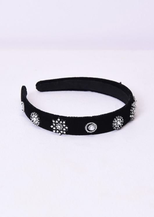 Velvet Diamante Detail Padded Headband Black