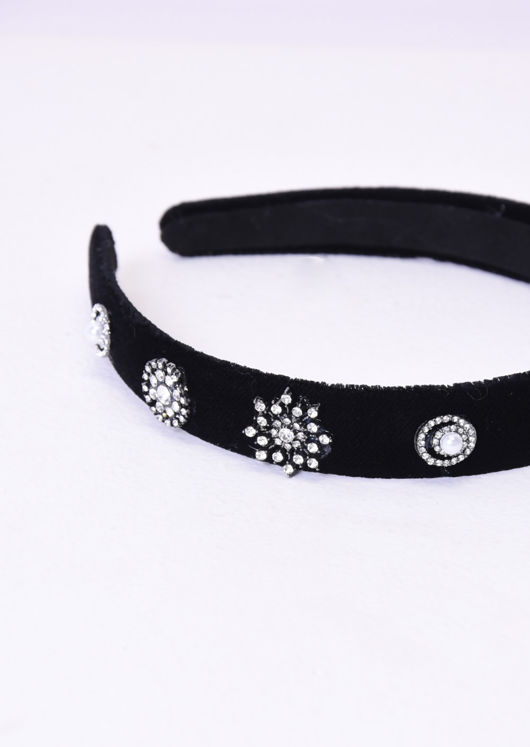Velvet Diamante Detail Padded Headband Black