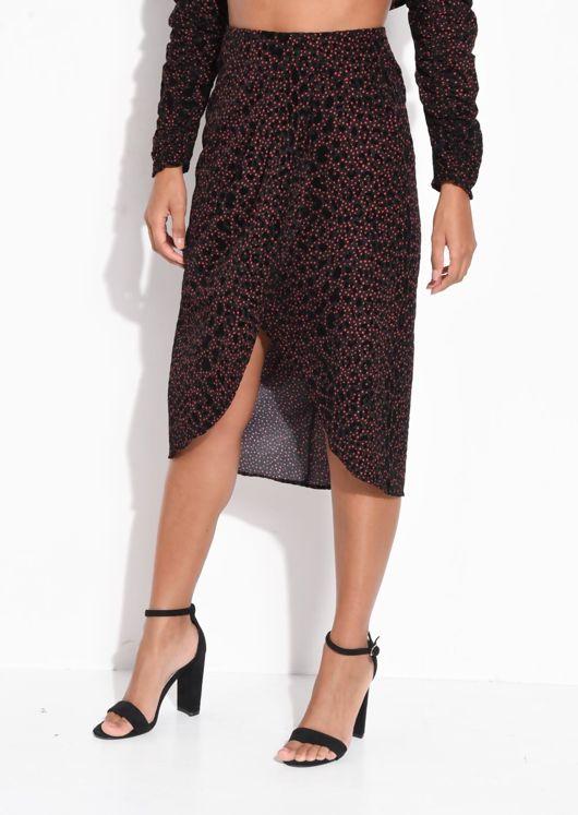 Velvet Leopard Pleated Print Polka Dot Wrap Front Skirt Black