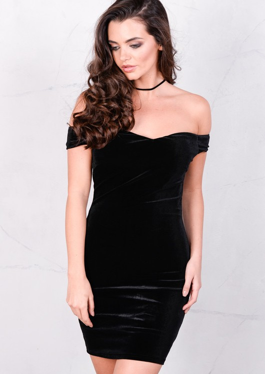 Velvet Off The Shoulder Sweetheart Mini Bodycon Black Dress