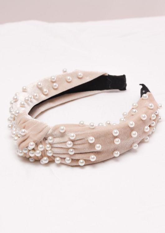 Velvet Pearl Knot Headband Cream