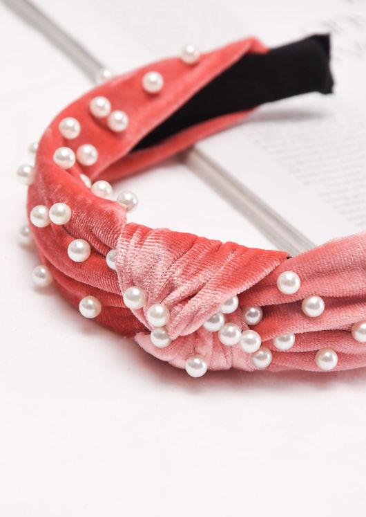 Velvet Pearl Knot Headband Pink