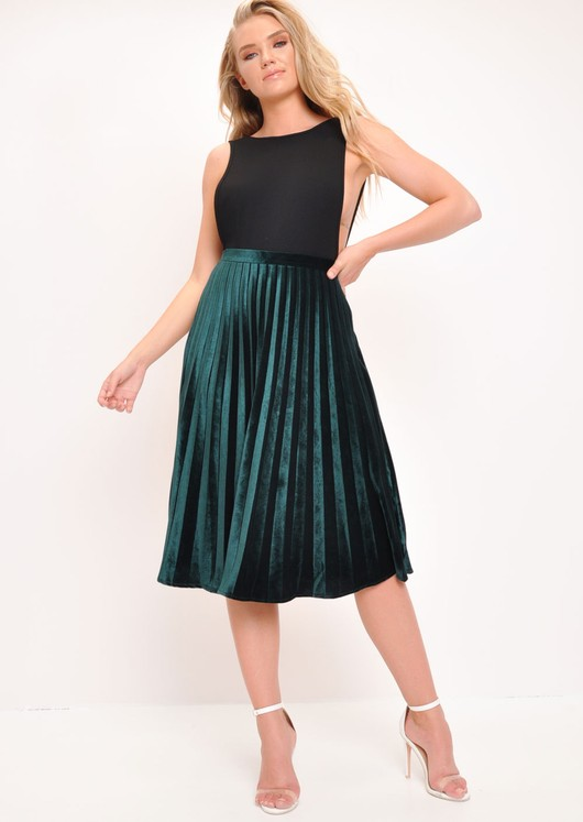 Velvet Pleated Midi Skirt Dark Green