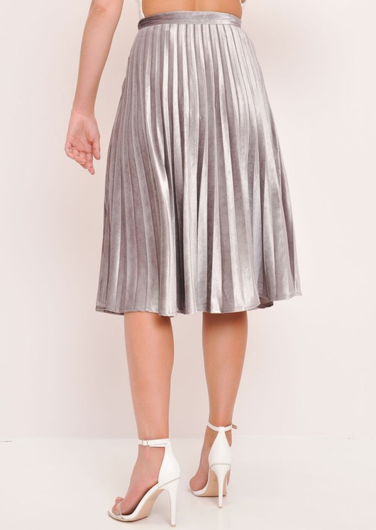 Velvet Pleated Midi Skirt Grey