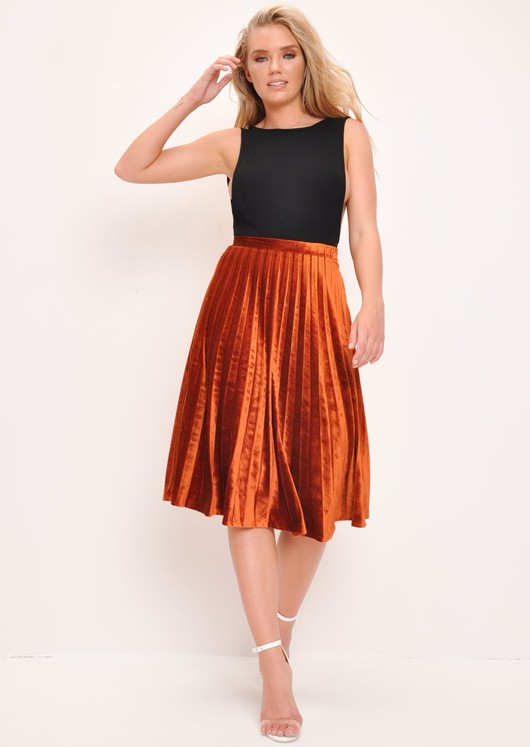 Velvet Pleated Midi Skirt Dark Orange