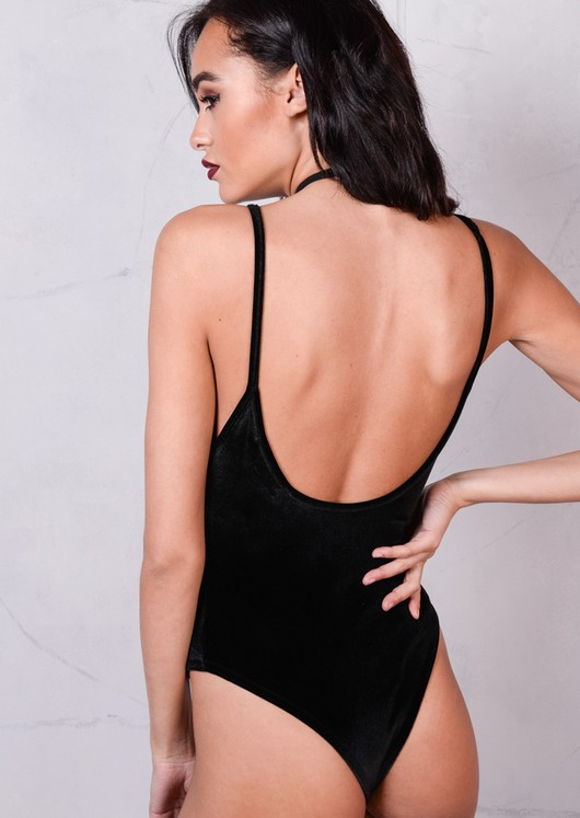 Velvet Plush V-Neck Bodysuit Black