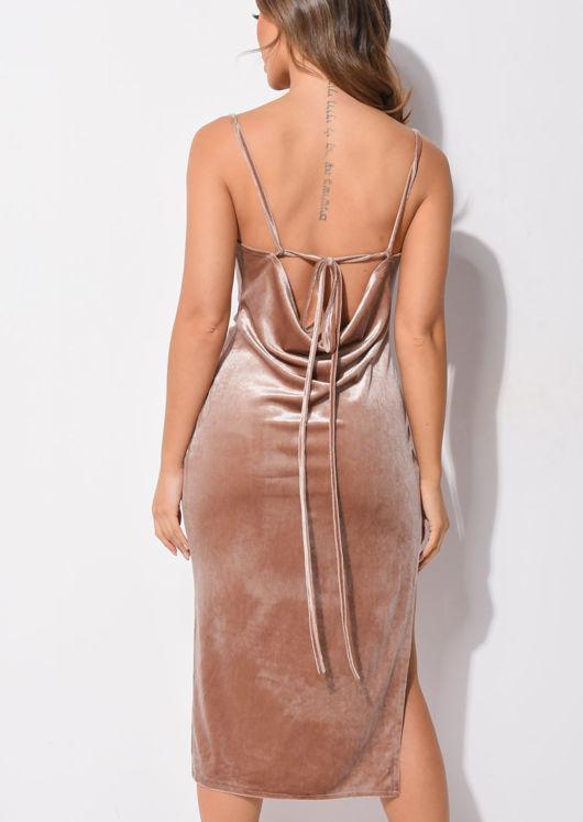 Velvet Side Splits Cowl Neck Midi Dress Beige