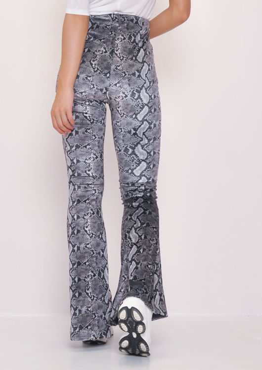 Velvet Snake Print High Waist Flared Trousers Grey