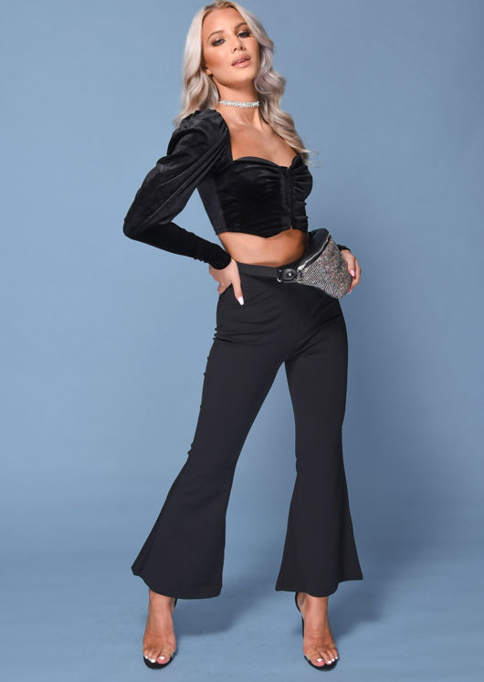 Velvet  Square Neckline Puff Sleeve Ruched Crop Top Black