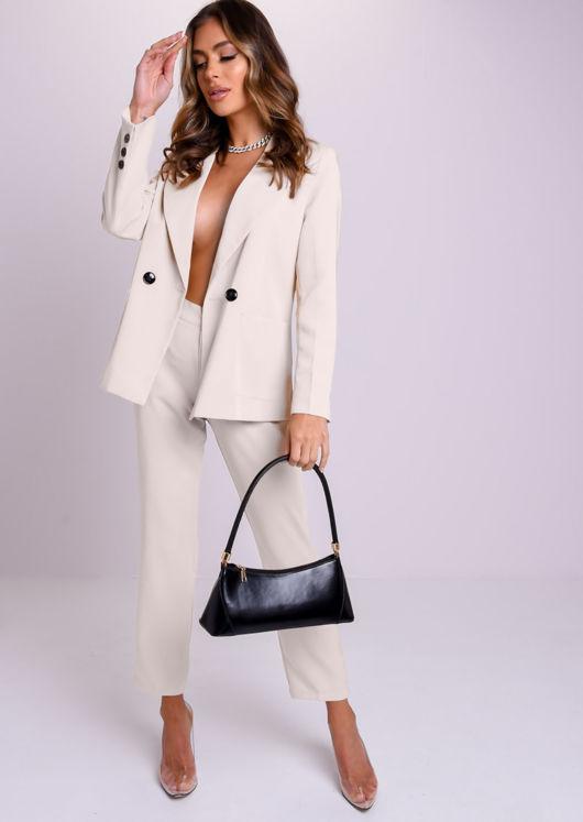 Oversized Boyfriend Boxy Blazer And Tailored Pants Co-Ord Set Light Beige
